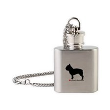 French Bulldog Silhouette Flask Necklace