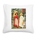 Snow White and Rose Red.png Square Canvas Pillow