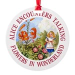 Alice Talking Flowers_RED copy.png Round Ornament