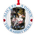 ALICE_DOWN THE RABBIT HOLE_BLUE.png Round Ornament