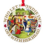 alice who let blondie_gold copy.png Round Ornament