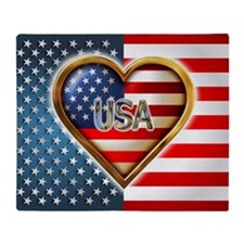 Heart Shaped US Flag - Throw Blanket