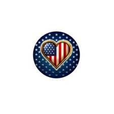USA Heart Shaped Flag Mini Button (100 pack)