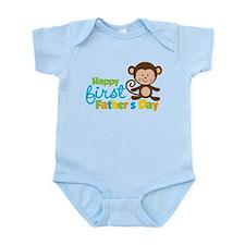 Boy Monkey Happy 1st Fathers Day Body Suit