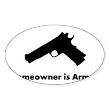 Homeowner is Armed White Decal