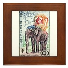 1958 Laos Asian Elephant Postage Stamp Framed Tile