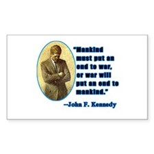 JFK Anti War Quotation Rectangle Decal