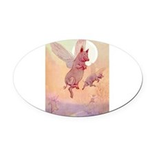 9x12_ALICE_Pigs_Fly_2009_138.png Oval Car Magnet
