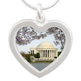 Thomas Jefferson Memorial Silver Heart Necklace