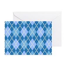 Blue Evil Argyle Greeting Cards (Pk of 10)