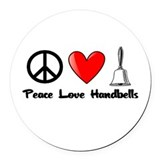 Peace, Love, Handbells Round Car Magnet