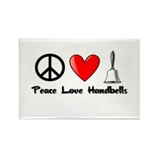 Peace, Love, Handbells Rectangle Magnet