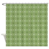 Green Paw Prints Shower Curtain