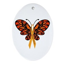 MS Awareness Butterfly Ribbon Ornament (Oval)