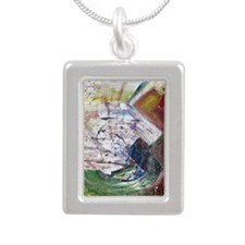 Rainbow Quartz Silver Portrait Necklace