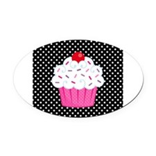 Pink Cupcake on Polka Dots Oval Car Magnet