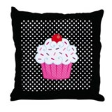 Pink Cupcake on Polka Dots Throw Pillow