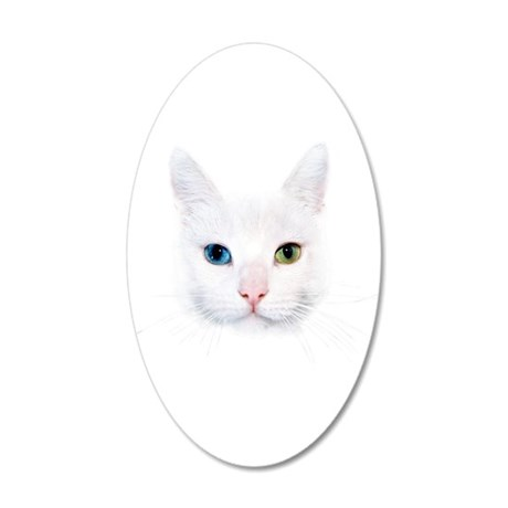 White Cat 20x12 Oval Wall Decal