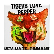 Tigers Love Pepper Tile Coaster