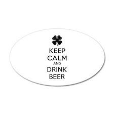 Keep calm and drink beer 38.5 x 24.5 Oval Wall Pee
