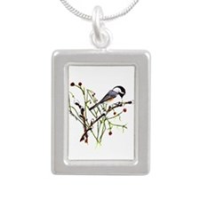 Pussywillow Chickadee Silver Portrait Necklace