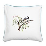 Pussywillow Chickadee Square Canvas Pillow
