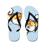 Orange White Pomeranian Art Blue Flip Flops