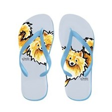 Cream Pomeranian Art Gray Flip Flops