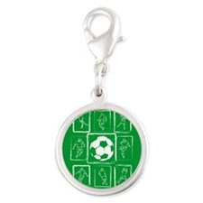 Fun Soccer players design Silver Round Charm