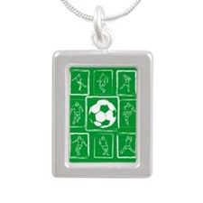 Fun Soccer players design Silver Portrait Necklace