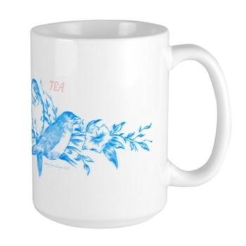 Blue Birds Tea Time Large Mug