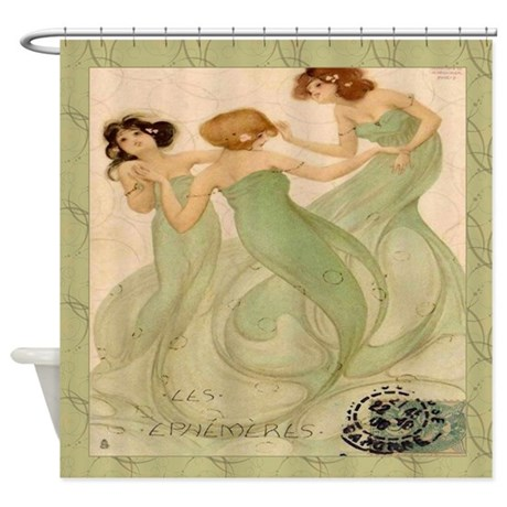 Vintage French Mermaid Shower Curtain By Rebeccakorpita