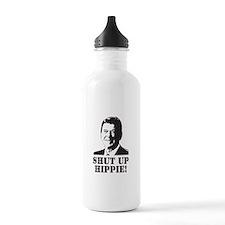 """Reagan says """"Shut Up Hippie!"""" Water Bottle"""