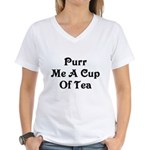 Purr Me A Cup of Tea Women's V-Neck T-Shirt