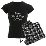 Purr Me A Cup of Tea Women's Dark Pajamas