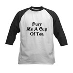 Purr Me A Cup of Tea Kids Baseball Jersey