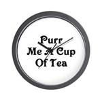 Purr Me A Cup of Tea Wall Clock
