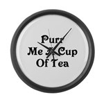 Purr Me A Cup of Tea Large Wall Clock