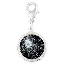 Broken glass - Silver Round Charm