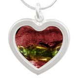 Twin foetuses, ultrasound - Silver Heart Necklace