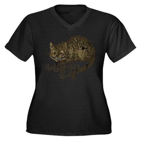Cheshire Cat Women's Plus Size V-Neck Dark T-Shirt