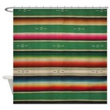 Vintage green mexican serape Shower Curtains