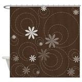 Brown Flowers and Swirls Shower Curtain