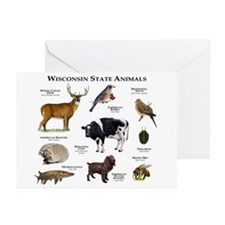 Wisconsin State Animals Greeting Cards (Pk of 10)
