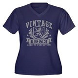 Vintage 1983 Women's Plus Size V-Neck Dark T-Shirt