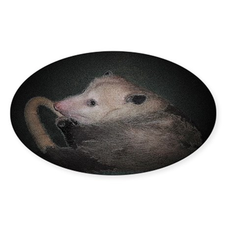 Sleepy Possum Oval Sticker