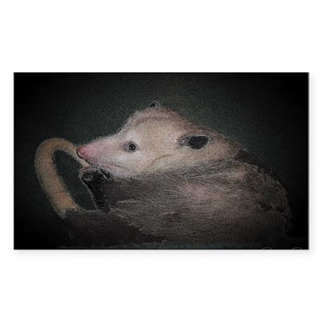 Sleepy Possum Rectangle Sticker