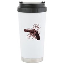 Vicious Pink Gun Ceramic Travel Mug