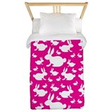 Bunny Rabbits on Pink Twin Duvet
