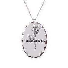 Unique Beauty and the beast Necklace Oval Charm